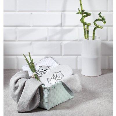 BABYONO Brisača s kapuco za dojenčka - Bambus, siva