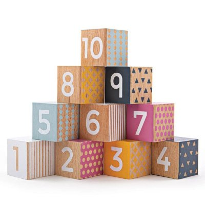 BIGJIGS Lesene kocke Števila do 10