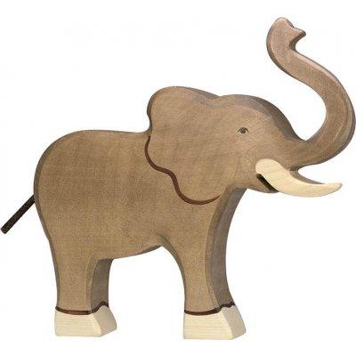 HOLZTIGER Lesene živali Slon, z dvignjenim rivcem