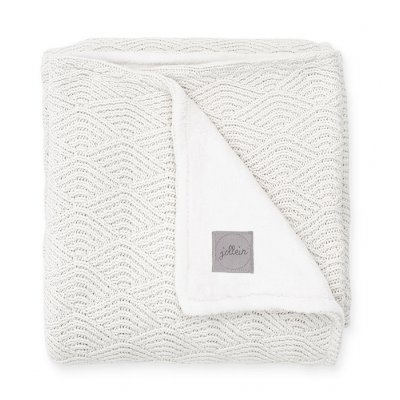 JOLLEIN Otroška odejica 75x100 cm, River knit lined, cream white