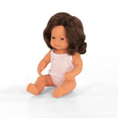 MINILAND Dojenček igrača - Rjavolasa deklica (38 cm)