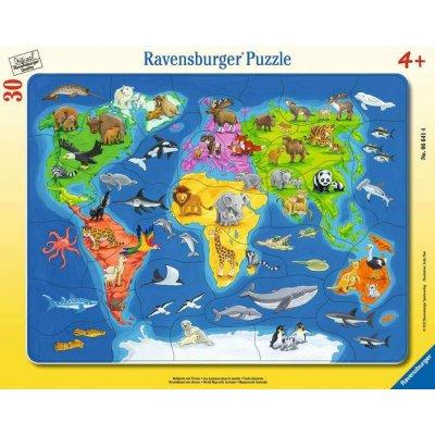 RAVENSBURGER Puzzle Zemljevid Živali 30d
